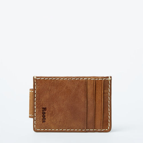 Roots-Leather  Handcrafted By Us Wallets-Money Clip With Slots Tribe-Natural-A
