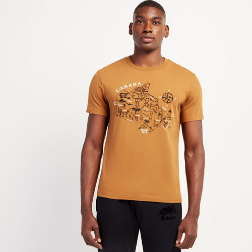 Roots-Men New Arrivals-Mens Pen Map T-shirt-Treehouse Brown-A