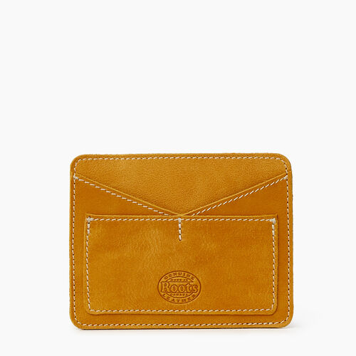 Roots-Leather Tech & Travel-Passport Card Holder Tribe-Squash Yellow-A