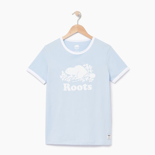 Roots-Women Tops-Womens Cooper Beaver Ringer T-shirt-Skyway-A