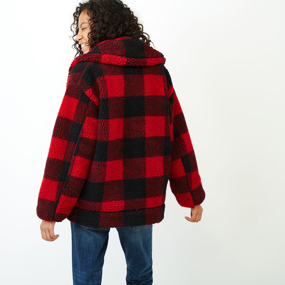 Roots-Women Our Favourite New Arrivals-Park Plaid Sherpa Jacket-Lodge Red-E