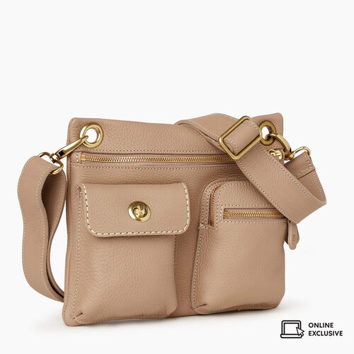 Roots-Leather Crossbody-Village Bag Parisian-Light Taupe-A