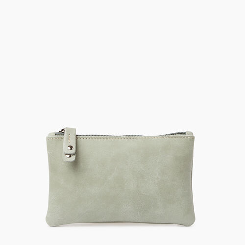 Roots-Leather  Handcrafted By Us Collections-Medium Zip Pouch Tribe-Lichen-A