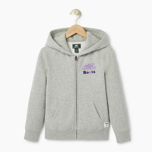 Roots-Clearance Kids-Girls Original Full Zip Hoody-Grey Mix-A