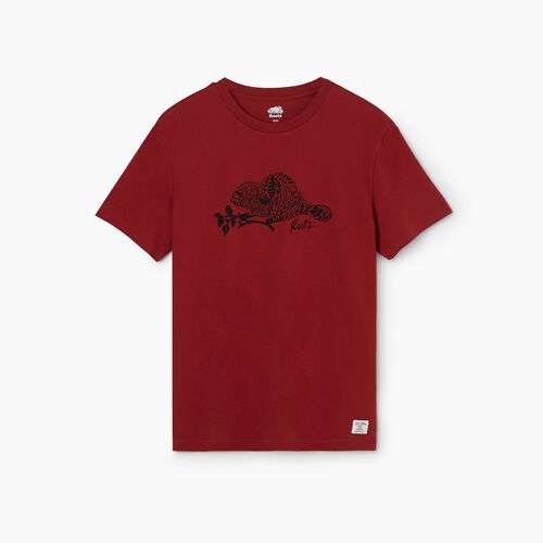 Roots-Men Clothing-Mens Animal Organic T-shirt-Rosewood-A