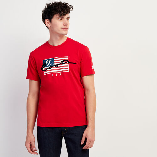 Roots-Sale Tops-Mens Script USA T-shirt-Sage Red-A