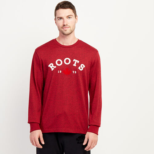 Roots-Men New Arrivals-Mens Smoke Lake Long Sleeve-Cabin Red Pepper-A
