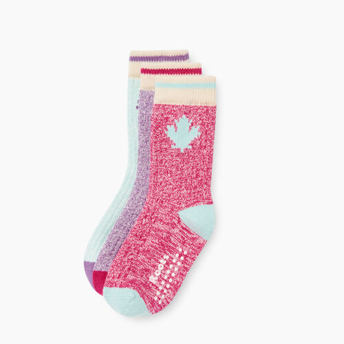 Roots-Kids Our Favourite New Arrivals-Toddler Maple Sock 3 Pack-Pink-A