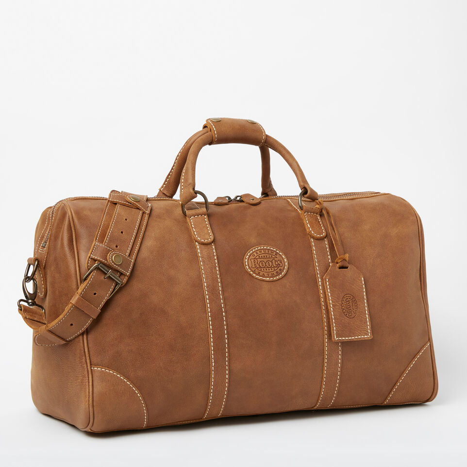 Roots-Leather Weekender Bags-Large Banff Bag-Natural-A