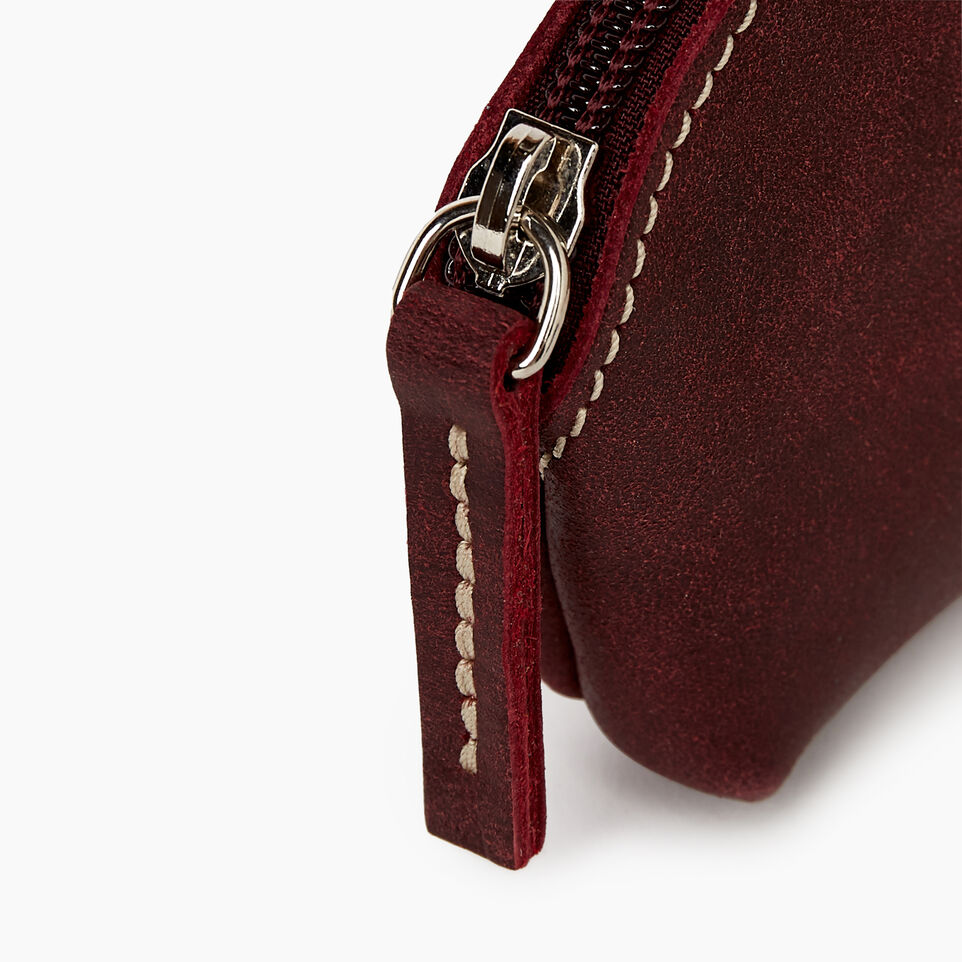 Roots-Women Leather Accessories-Small Euro Pouch-Crimson-C