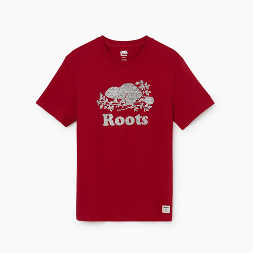 Roots-Men Graphic T-shirts-Mens Pepper Cooper T-shirt-Cabin Red-A