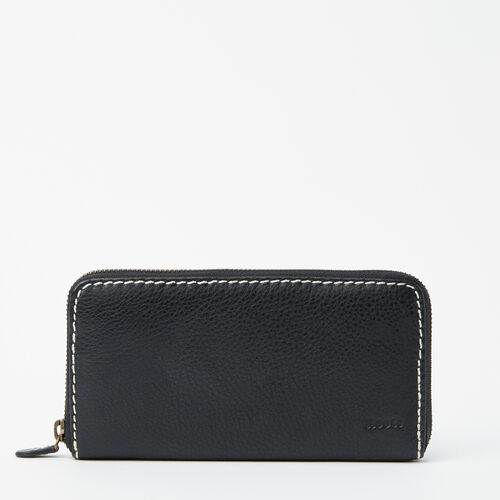 Roots-Leather  Handcrafted By Us Wallets-Zip Around Clutch-Black-A