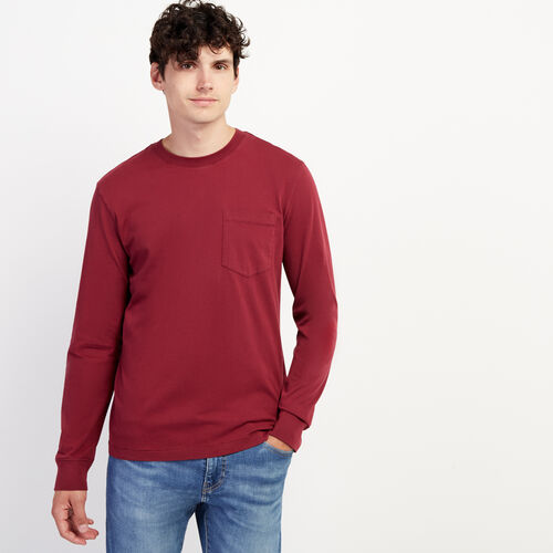 Roots-Men Long Sleeve Tops-Essential Pocket Long Sleeve Top-Mulberry-A