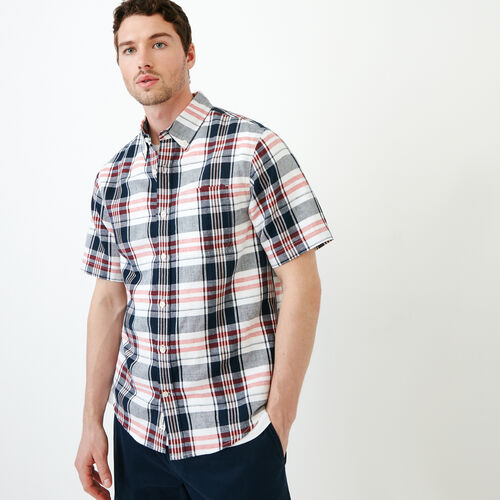 Roots-Clearance Men-Shorepine Madras Shirt-Eclipse-A