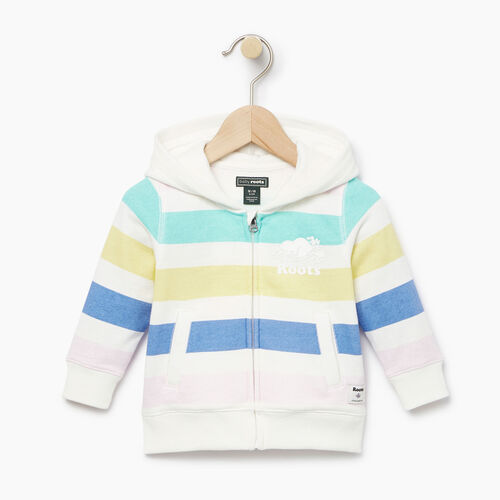 Roots-Kids Baby Girl-Baby Ombre Stripe Full Zip Hoody-Ivory-A