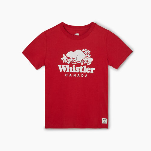 Roots-Kids T-shirts-Boys Whistler Ski City T-shirt-Sage Red-A
