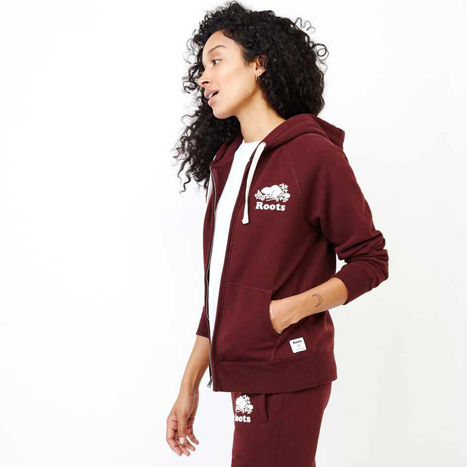 Roots-Women Categories-Original Full Zip Hoody-Crimson-C