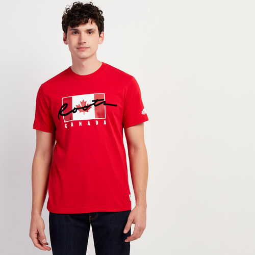 Roots-Sale Tops-Mens Script Canada T-shirt-Sage Red-A