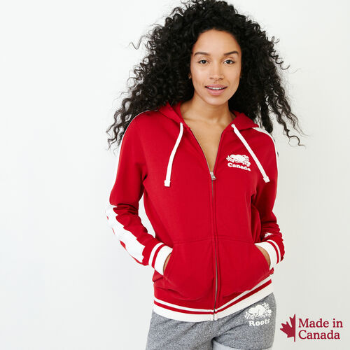 Roots-Women Collections-Canada Full Zip Hoody-Sage Red-A