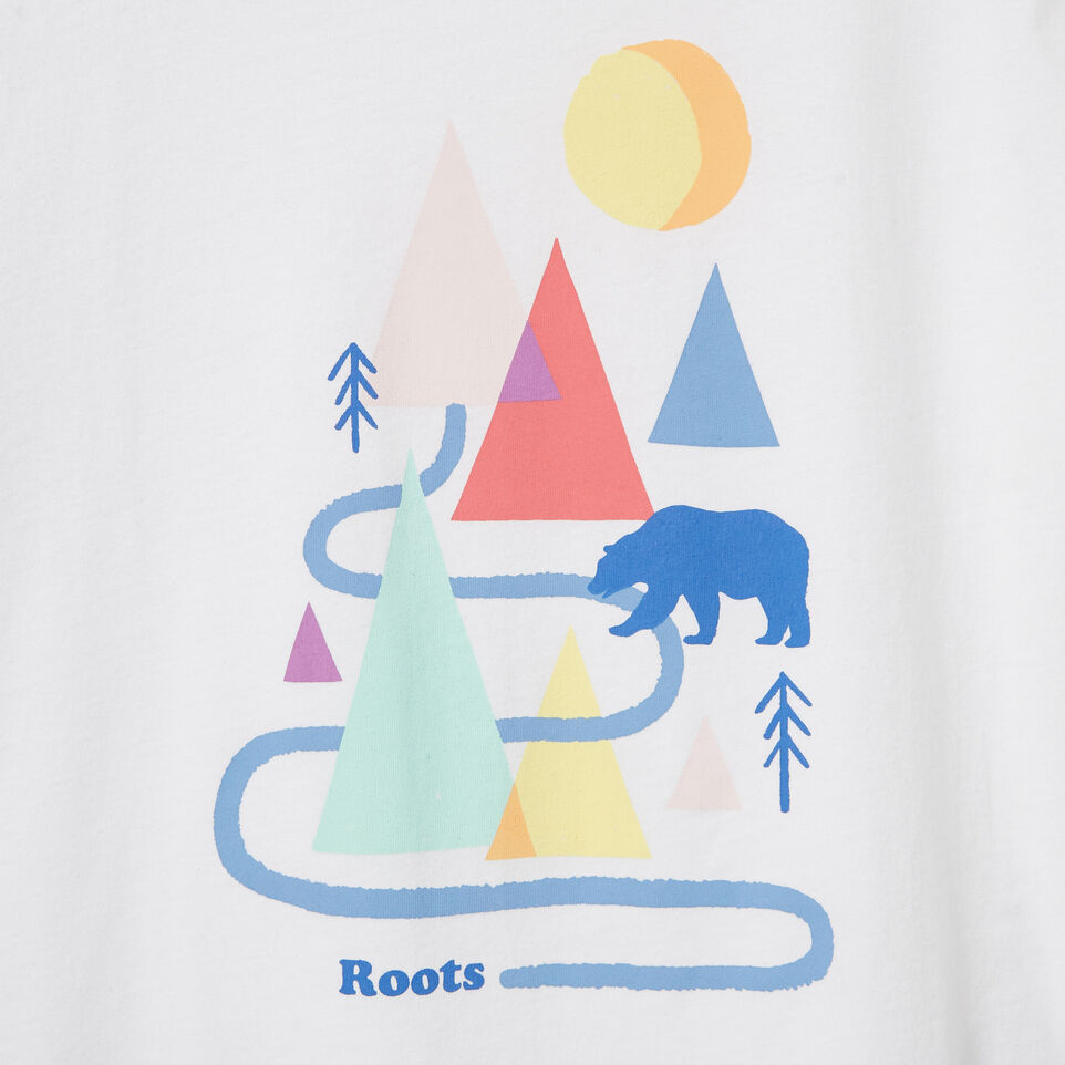 Roots-New For June Kids-Girls Camp T-shirt-Ivory-D