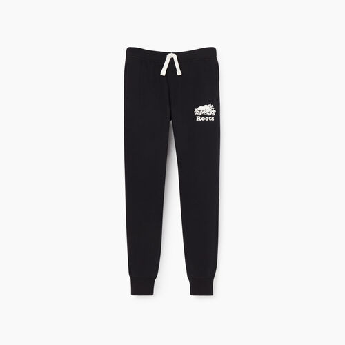 Roots-Kids Bottoms-Girls Slim Cuff Sweatpant-Black-A