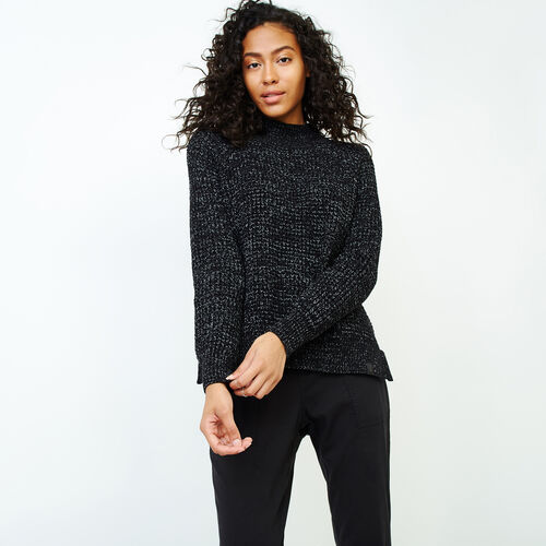 Roots-Women Sweaters & Cardigans-Snowy Fox Mock Neck Sweater-Black Fox-A