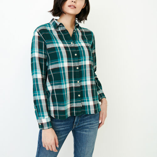 Roots-Women Categories-All Seasons Relaxed Shirt-Varsity Green-A
