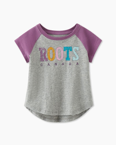 Roots-Kids T-shirts-Baby Retro Baseball T-shirt-True Violet-A