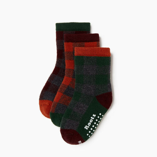 Roots-Kids Our Favourite New Arrivals-Toddler Plaid Sock 3 Pack-Crimson-A