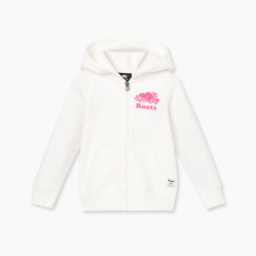 Roots-Kids Tops-Toddler Original Full Zip Hoody-Ivory-A