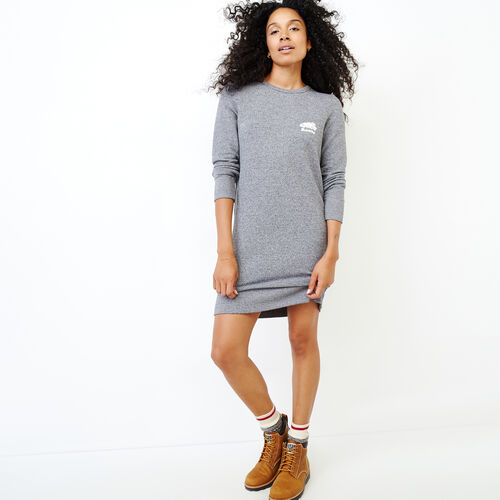 Roots-Women Dresses-Cozy Fleece Dress-Salt & Pepper-A