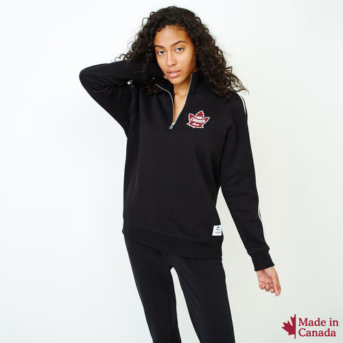 Roots-Women Sweatshirts & Hoodies-Womens Canada Zip Stein-Black-A