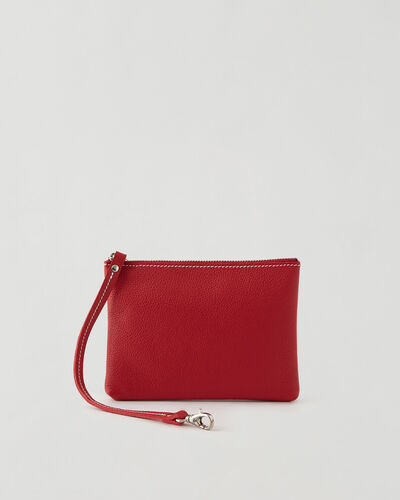 Roots-Leather New Arrivals-Small Wristlet Cervino-Lipstick Red-A