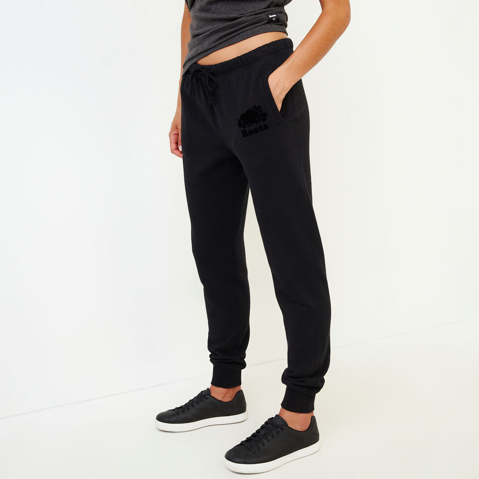 Roots-Women Categories-Original Slim Cuff Sweatpant-Black-C