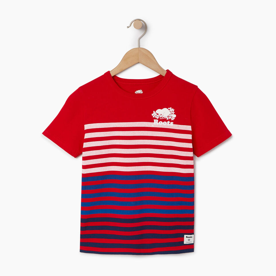 Roots-New For June Kids-Boys Cooper Beach Stripe T-shirt-Racing Red-A