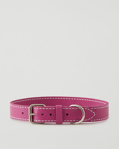 Roots-Leather Dog Accessories-Extra Large Leather Dog Collar-Pink Orchid-A