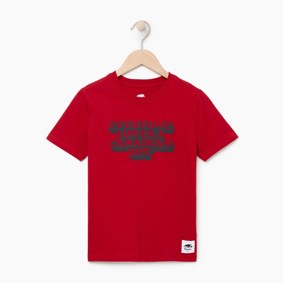 Roots-Sale Kids-Boys Canadian Boy T-shirt-Sage Red-A