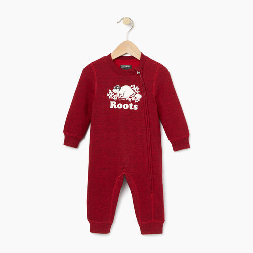 Roots-Gifts Buddy The Beaver-Baby Hockey Buddy Romper-Cabin Red Pepper-A