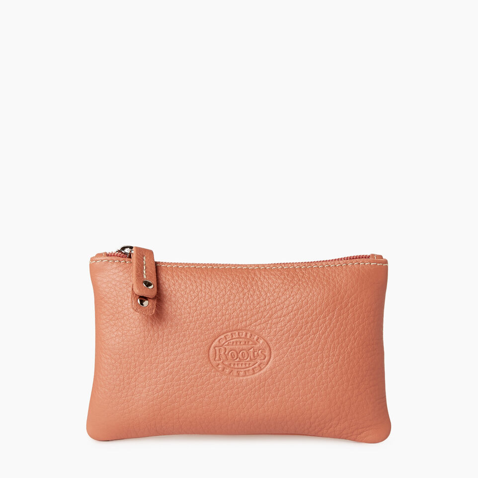 Roots-Leather  Handcrafted By Us Categories-Medium Zip Pouch-Canyon Rose-C
