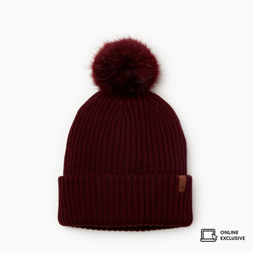 Roots-New For November Online Exclusives-Juneau Pom Pom Toque-Crimson-A