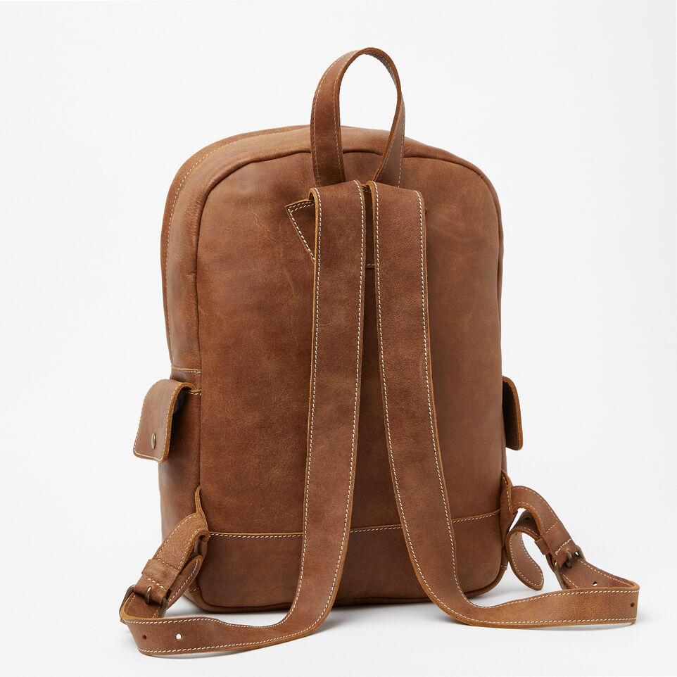 Roots-Leather Backpacks-Central Pack-Natural-C