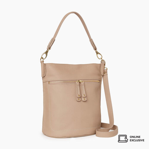 Roots-Leather Crossbody-French Bucket Parisian-Light Taupe-A