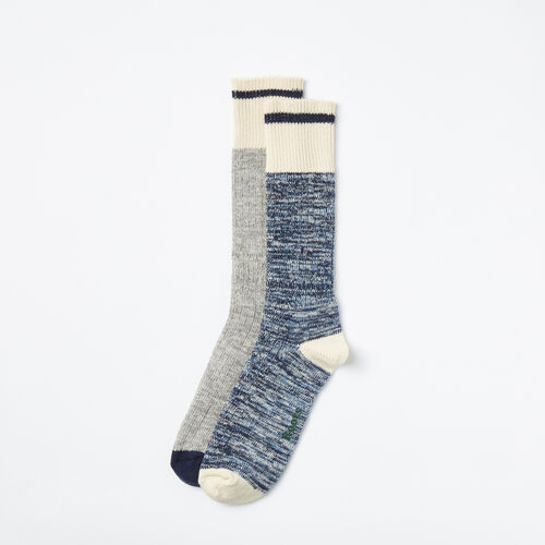 Roots-Clearance Men-Mens Cotton Cabin Sock 2 Pack-Cascade Blue-A