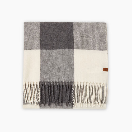 Roots-New For October Plaids-Roots Park Plaid Blanket Scarf-Light Fog-A