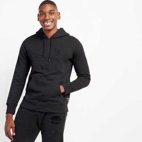 Roots-Men New Arrivals-Embossed Cooper Hoody-Black-A
