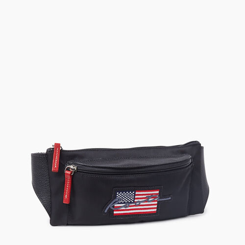 Roots-Leather Mini Leather Handbags-Script USA Fanny Pack Nylon-Black-A