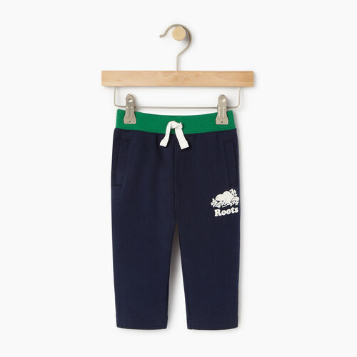 Roots-Kids Bottoms-Baby Colour Block Sweatpant-Navy Blazer-A