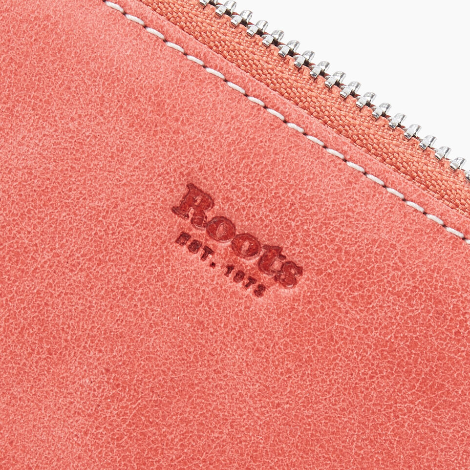Roots-Leather New Arrivals-Small Zip Wallet Tribe-Coral-D