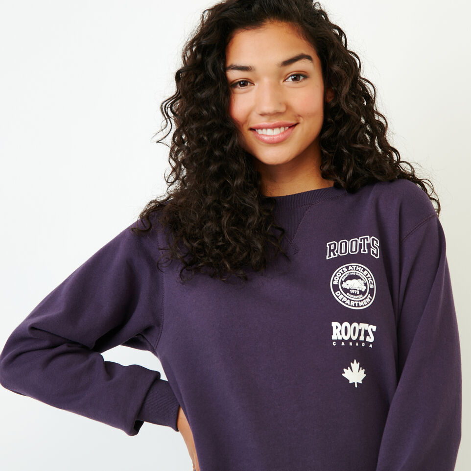 Roots-Women Our Favourite New Arrivals-Stamps Crew Sweatshirt-Night Shade-E