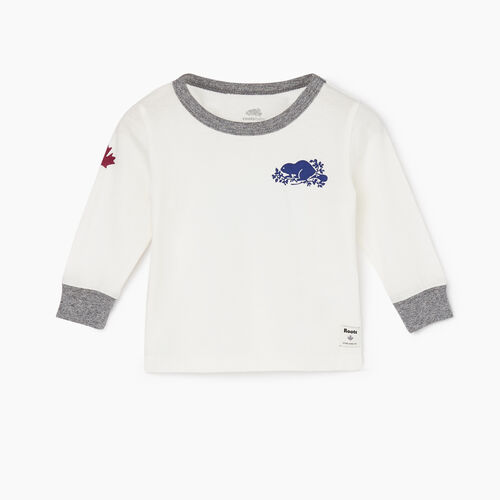 Roots-Kids Tops-Baby Remix T-shirt-Ivory-A